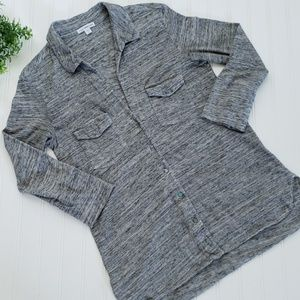 Standard James Perse Gray Slub Knit Button Up sz 2